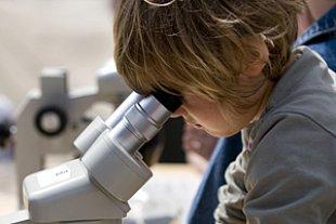 Junge Mikroskop