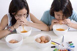 Kinder Ostereier Auspusten