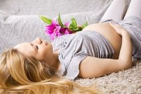 Schwangere liegend Bluete