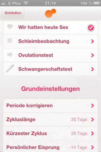 App: Tageseinstellungen