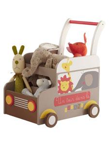 Fahrbare Spielzeugkiste mit Tieren
