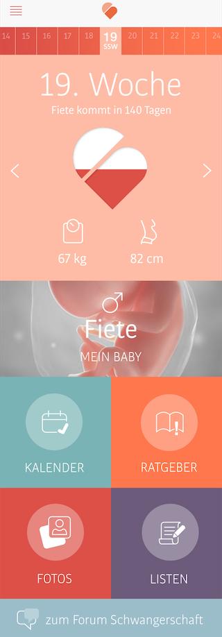 Schwangerschaftsapp Dashboard