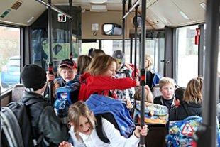 Schulbustest Draengelei im Bus