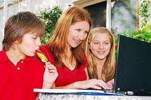 Frau Computer Garten Kinder