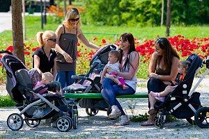 Mütter Parkbank Reden Kleinkinder