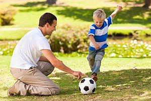 Vater Sohn Fußball Park