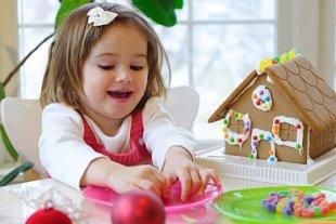 Mädchen Lebkuchenhaus