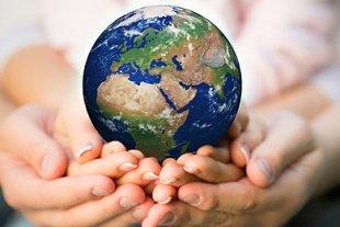 Hände Globus Zukunft