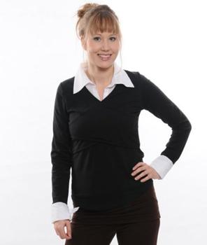 Langarm-Still-Shirt mit Kragen und Hemdärmeln