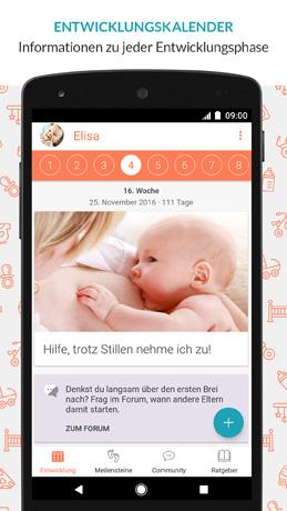 Baby-App Entwicklungskalender